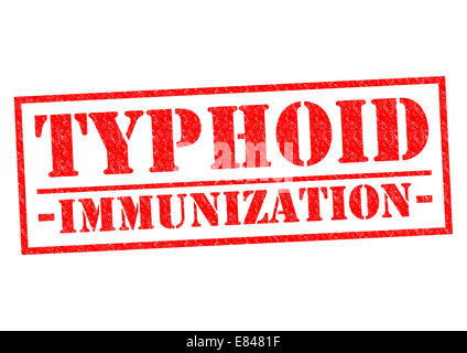 TYPHOID IMMUNIZATION red Rubber Stamp over a white background. - Stock Photo