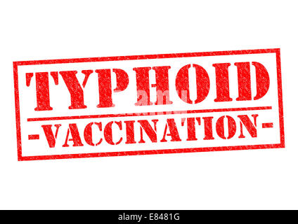 TYPHOID VACCINATION red Rubber Stamp over a white background. - Stock Photo