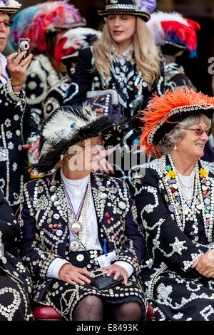 Pearly Queens & Princess's, The London Pearly Kings & Queens Society Costermongers Harvest Festival, London, England - Stock Photo