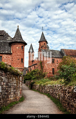 street with towers, collonges la rouge, france - Stock Photo