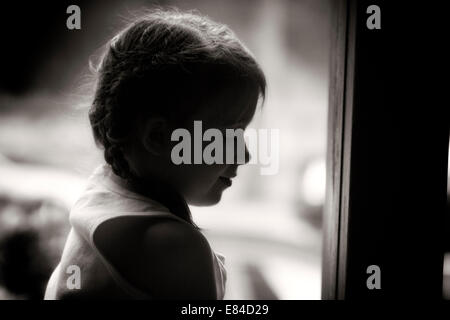 Profile of a young girl - Stock Photo