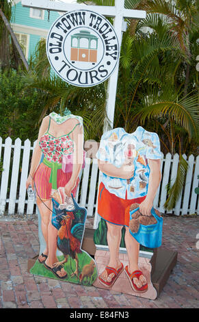 Old Town Trolley Tours sign tourist photo opportunity in Key West the Florida Keys - Stock Photo