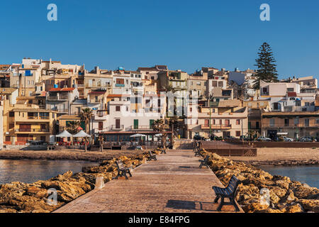 View from the pier to Marinella di Selinunte, Castelvetrano, Trapani, Sicily, Italy, Europe - Stock Photo