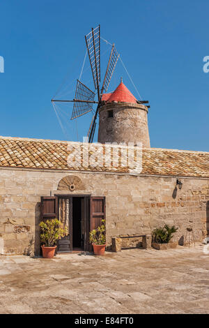 Windmill and salt museum near Marsala, Paceco, Trapani, Sicily, Italy, Europe - Stock Photo