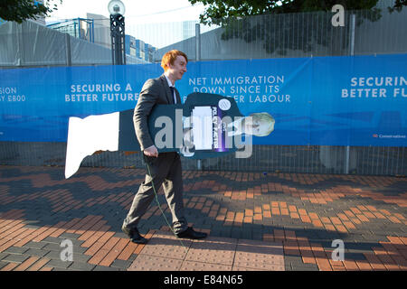 Birmingham, UK. 30th September, 2014. Conservative Party Conference, Birmingham, UK 30.09.2014 Picture shows a Tory - Stock Photo