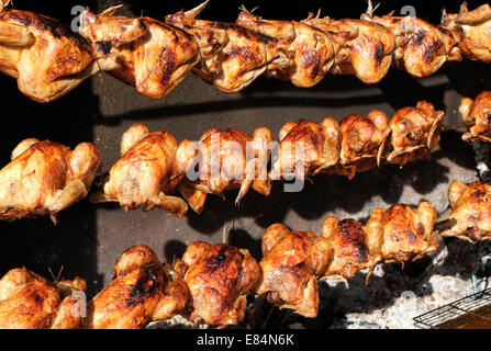 roasted chickens on large charcoal spit roast - Stock Photo