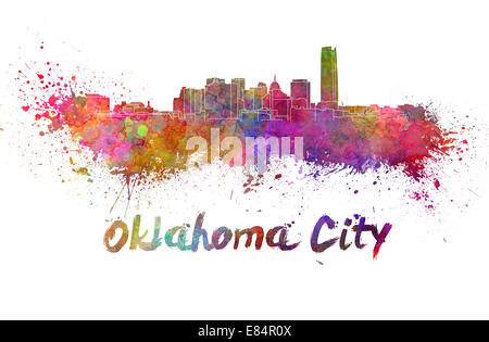 Oklahoma City skyline in watercolor - Stock Photo