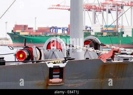 mooring anchor winch port moored - Stock Photo