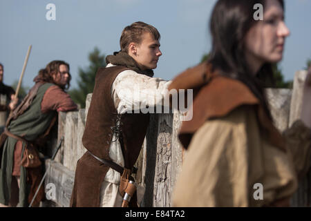 Clanranald Trust, at Duncarron medieval fortified village, in Carron Valley Forest, Scotland - Stock Photo