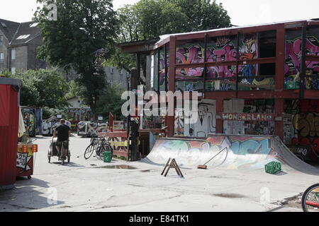 General view of the centre of Freetown Christiania in Copenhagen, Denmark - Stock Photo
