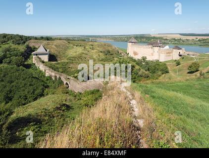Khotyn fortress: Yaski Gate, western bastion, defensive wall, castle - Stock Photo