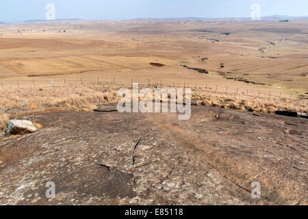 The rock on which Nelson Mandela used to slide and play as a child near his childhood home in the town of Qunu in - Stock Photo