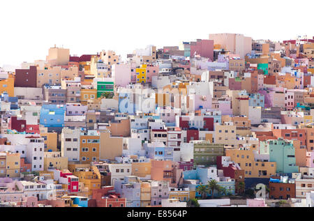 Las Plamas de Gran Canaria, Ciudad Alta, High City, isolated on white - Stock Photo