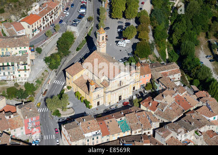 CHURCH IN L'ESCARENE VILLAGE (aerial view). Alpes-Maritimes, French Riviera, France. - Stock Photo