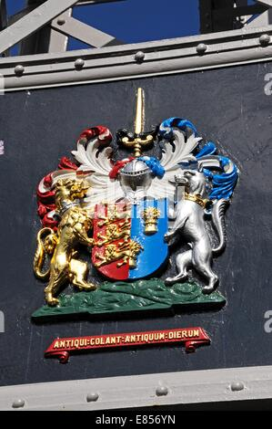 Coat of arms on the River Dee Suspension Bridge aka Queens Park Suspension bridge, Chester, Cheshire, England, UK, - Stock Photo