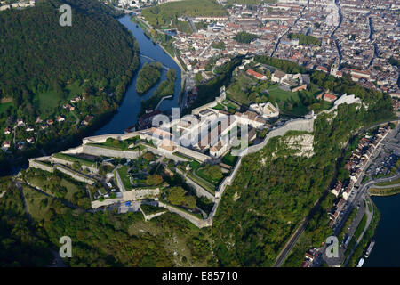 CITADEL OF BESANCON (aerial view). Fortifications overlooking the old town of Besançon. On the UNESCO's list. Doubs, - Stock Photo
