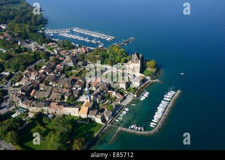 MEDIEVAL VILLAGE OF YVOIRE (aerial view). Lake Geneva, Haute-Savoie, Rhône-Alpes, France. - Stock Photo