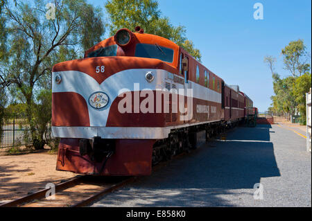 The Ghan in the Old Ghan Heritage Railway and Museum, Alice Springs, Northern Territory, Australia - Stock Photo