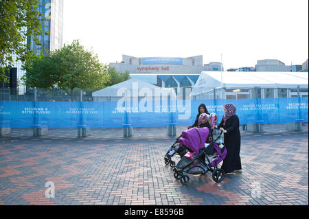 Birmingham, West Midlands, UK. 30th September, 2014. The day comes to a close on the third day of The Conservative - Stock Photo
