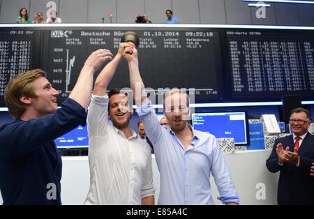Frankfurt, Germany . 01st Oct, 2014. The executives of Zalando SE, David Schneider (L-R), Robert Gentz, and Rubin - Stock Photo