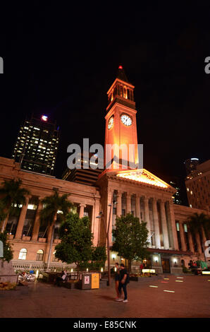 BRISBANE, AUS - SEP 25 2014:Brisbane City Hall at night.The building used for royal receptions, pageants, orchestral - Stock Photo