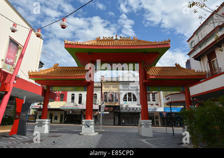 BRISBANE, AUS - SEP 25 2014:The main gate of Chinatown Brisbane, Queensland Australia.Chinatown in Brisbane's Fortitude - Stock Photo
