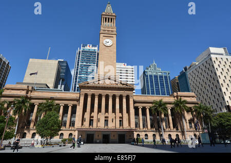 BRISBANE, AUS - SEP 26 2014:Brisbane City Hall.The building used for royal receptions, pageants, orchestral concerts, - Stock Photo