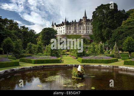 Dunrobin Castle and gardens, near Golspie, Sutherland, Highland, Scotland - Stock Photo