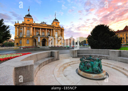 Zagreb, national theater in sunset. - Stock Photo