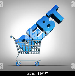 Consumer debt financial concept as a shopping cart dragging a three dimensional text as a credit problem symbol - Stock Photo