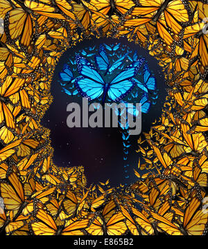 Inspiration concept and thinking potential metaphor as a group of butterflies in the shape of a human face and brain - Stock Photo