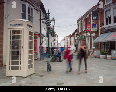 Shoppers in Beverley town centre - Stock Photo