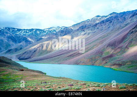lake Chandra Taal Spiti Valley, Himachal Pradesh, India - Stock Photo