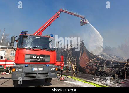 Berlin, Germany, firefighters clears with the fire department telescopic mast - Stock Photo