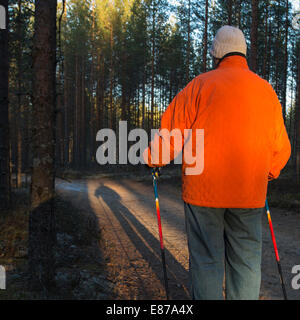 Elderly senior woman standing in the taiga forest with nordic walking poles , Finland