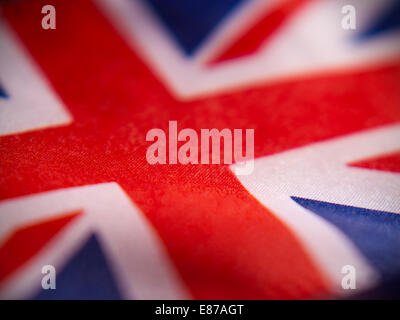 Abstract macro view of United Kingdom flag with shallow depth of field. - Stock Photo