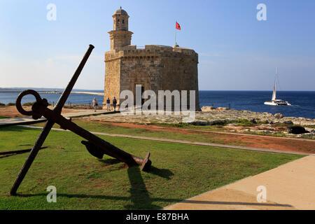 The watchtower of Castell de Sant Nicolau, Ciutadella, Minorca, Spain - Stock Photo