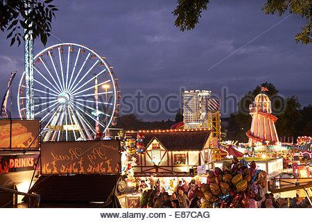 Nottingham, UK, 1 October 2014  Start of Goose Fair on The Forest, Nottingham, UK. It will run from 1st to 5th October - Stock Photo