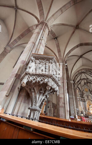 Italy, South Tyrol, Bolzano, Bozen, Santa Maria Assunta Chatedral, Interior, Pulpit - Stock Photo