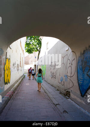Students walk along a graffiti-covered alley in Senamiestyje/Old Town, Vilnius, Lithuania - Stock Photo