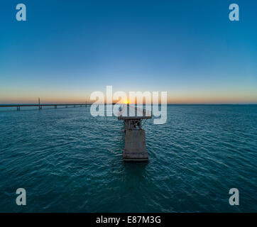 Historic or Old Seven Mile Bridge, with missing segment of The Overseas Highway, seen from Pigeon Key in the Florida - Stock Photo