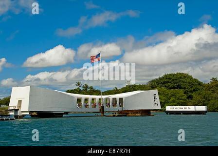 USS Arizona Memorial in Pearl Harbor, Oahu, Hawaii, United States - Stock Photo