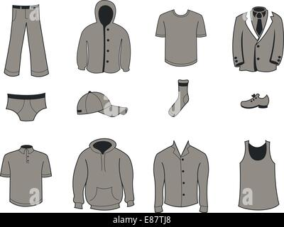 Vector illustration set of fashion  Clothing and Accessories Icons - Stock Photo