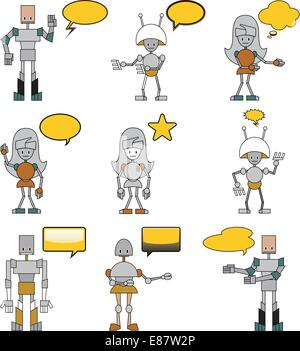 Vector Illustration of funny robots decorated with comics bubbles - Stock Photo