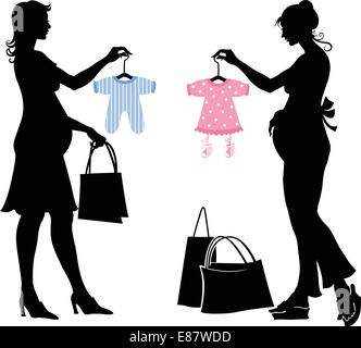 Vector illustration of two pregnant women during the shopping. - Stock Photo