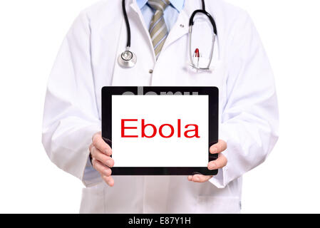 Close up torso view of a male doctor holding tablet computer with ebola written on the screen, isolated on white - Stock Photo