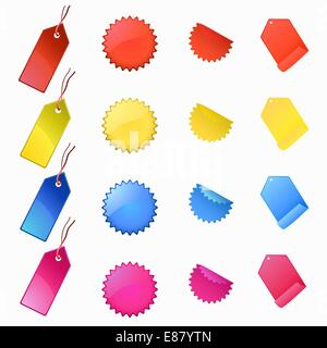 Vector Illustration of labels and tags. Four colors/four shapes. - Stock Photo