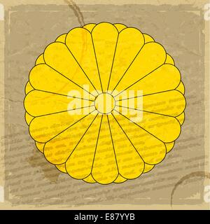 Coat of arms of Japan on an old sheet of paper - Stock Photo
