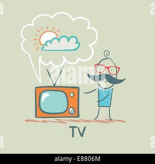 man watches TV - Stock Photo