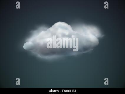 Vector illustration of cool single weather icon -  cloud floats in the dark sky - Stock Photo